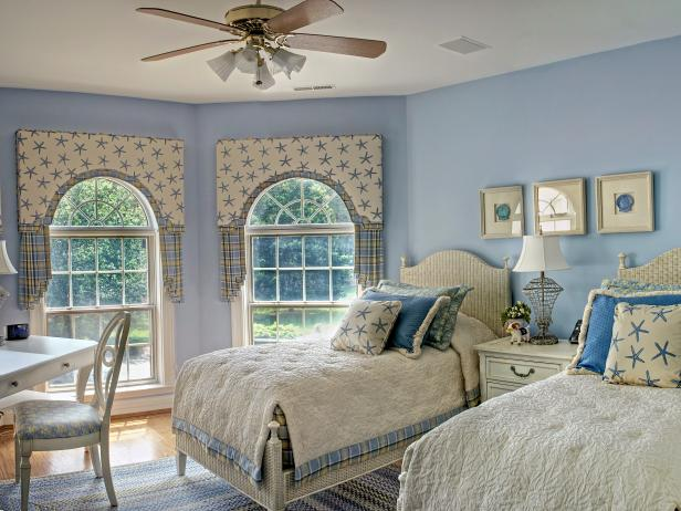 Blue and White Coastal-Themed Bedroom