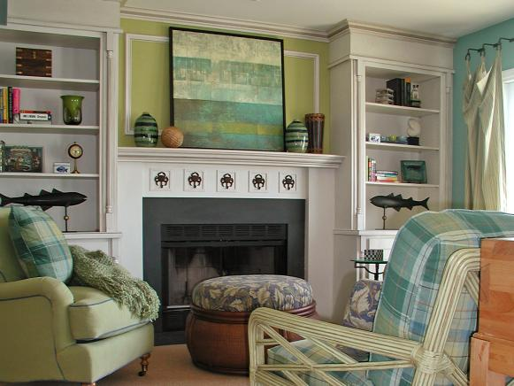 Coastal Sitting Room With Built-Ins