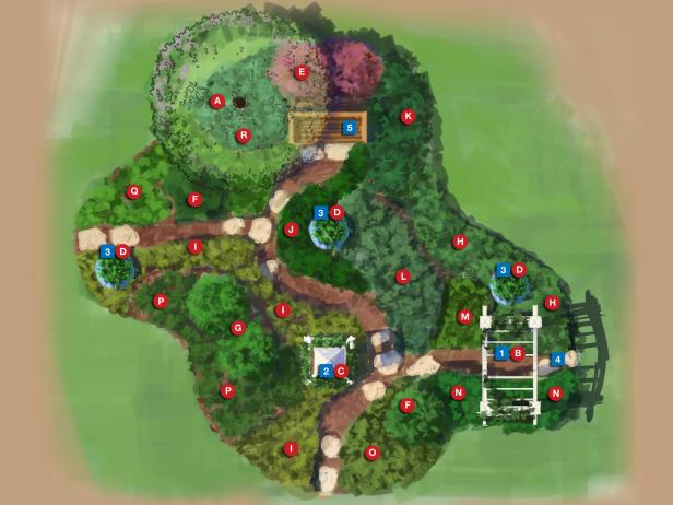 Digital Garden Plan With Numbered and Lettered Markers