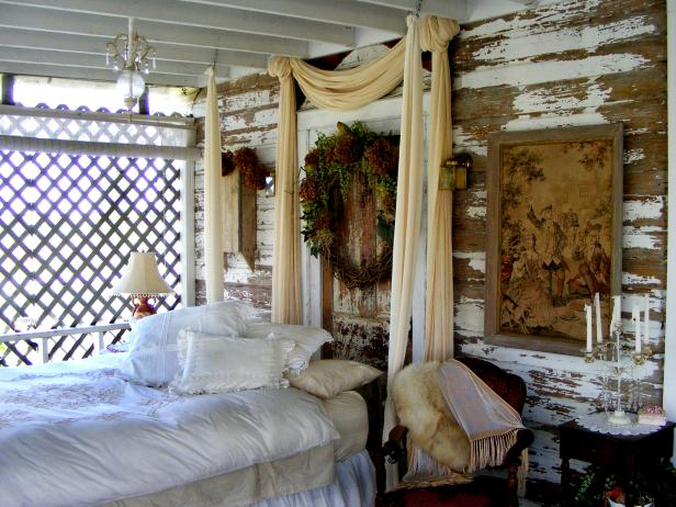Shabby Chic Porch Bedroom