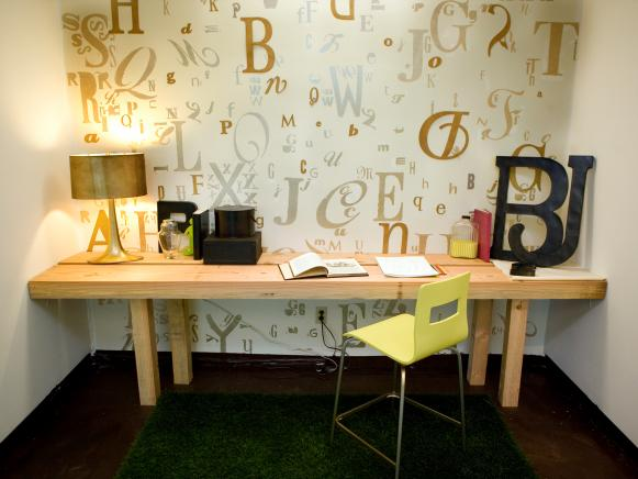 Typography Wall in Contemporary Home Office