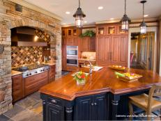Traditional Neutral Kitchen With Large Black Island