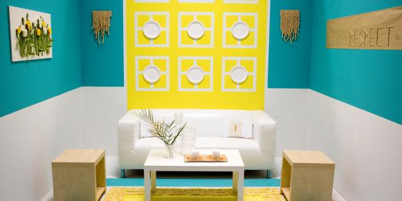 Contemporary Turquoise and Yellow Living Room