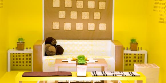 Contemporary Yellow Living Room With Neutral Furniture