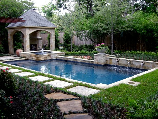 Pool Surrounded by Lush Garden