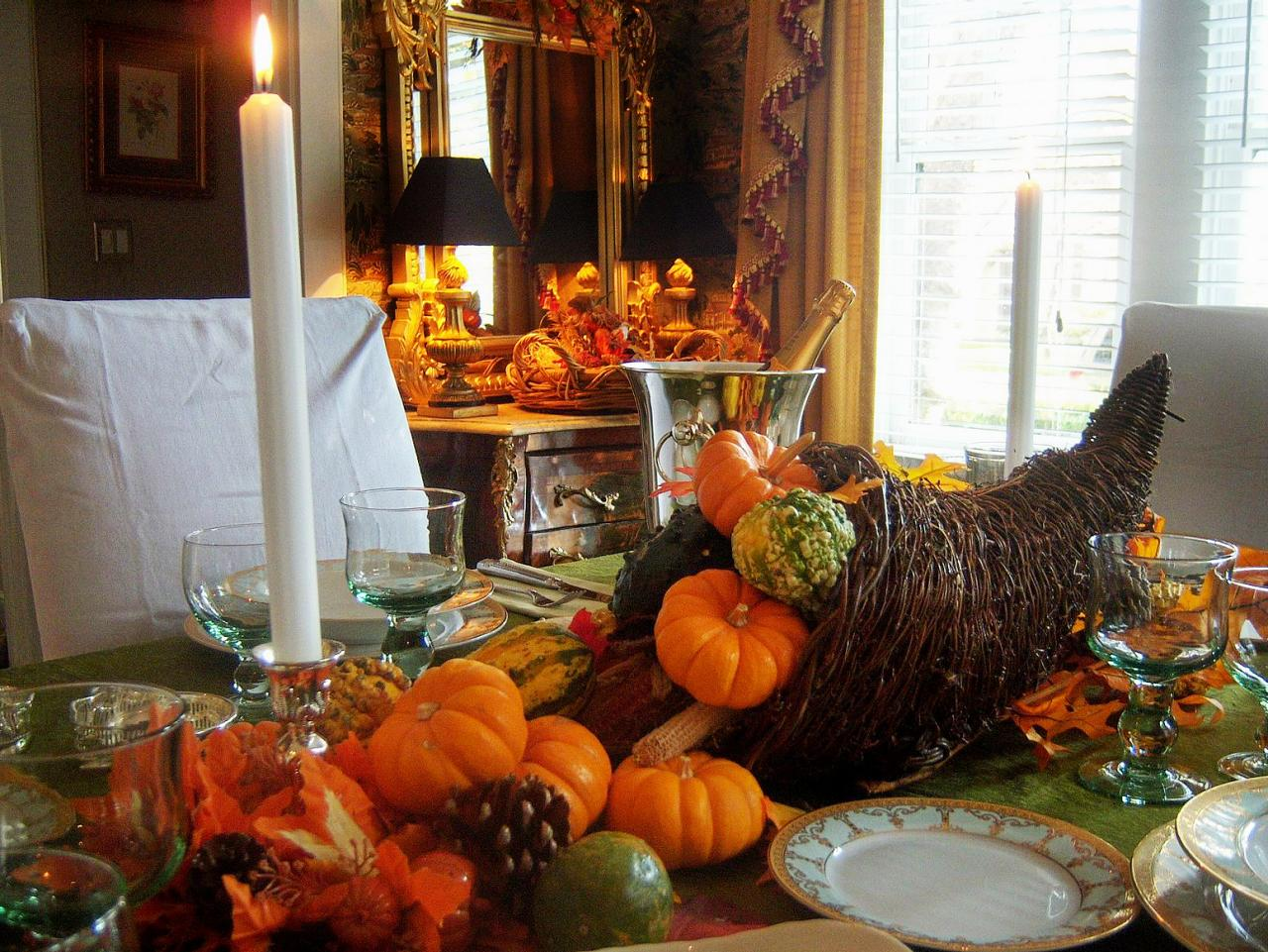Cornucopia Centerpiece On Thanksgiving Table Hgtv