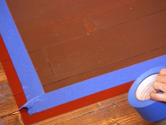Painter's Tape Outlines Faux Painted Rug