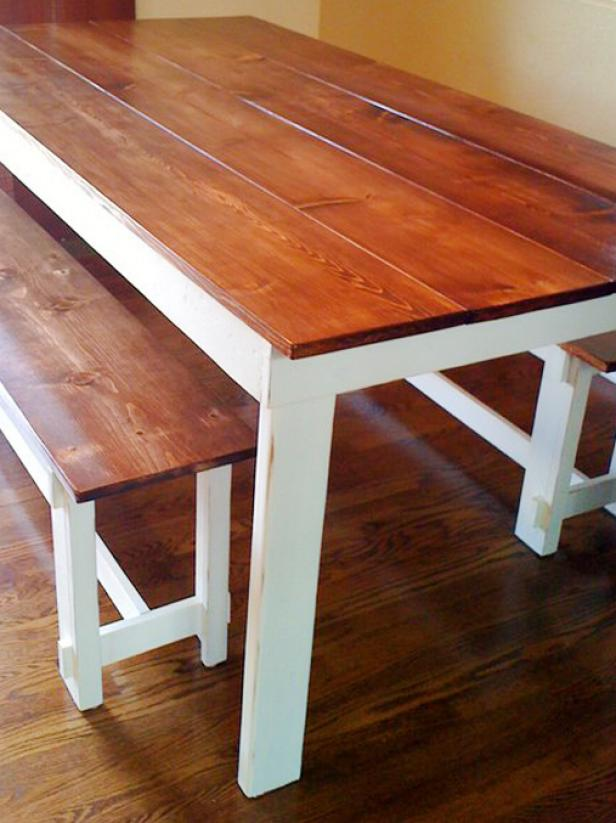 Brown And White Wooden Farmhouse Bench Table