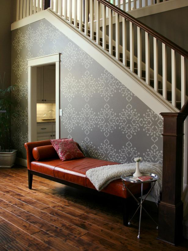 Gray Stenciled Transitional Stairway With Red Chaise
