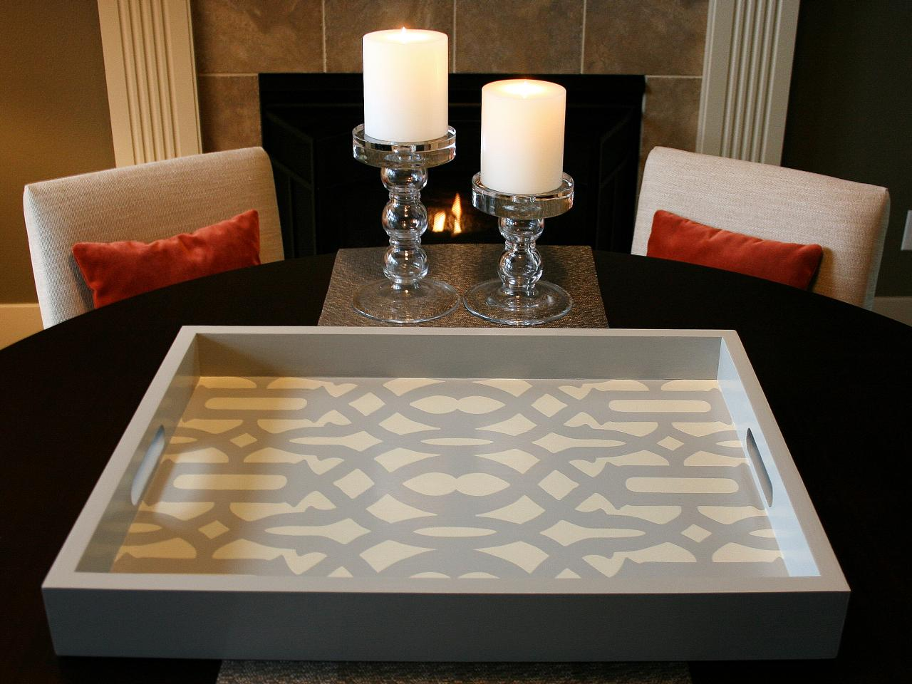 Stenciled Tray With Candles