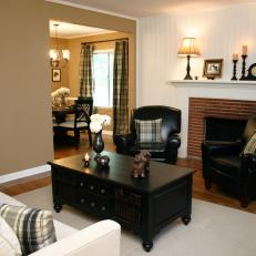 Transitional Neutral Living Room With Red Brick Fireplace