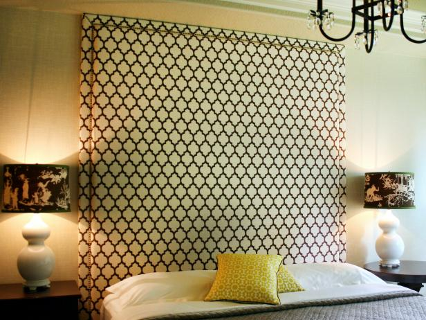 Upholstered headboard with nail head trim hgtv patterned headboard solutioingenieria Image collections