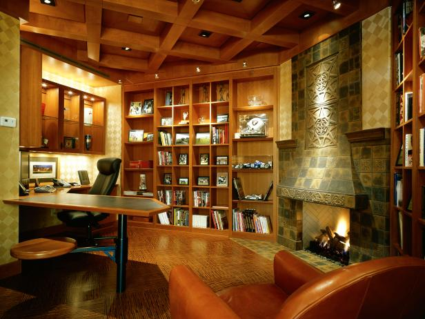 Craftsman Home Office With Fireplace and Built-in Bookshelf