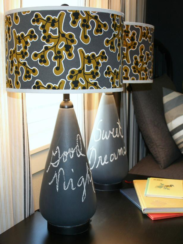 Nightstand table lamps with chalkboard bases