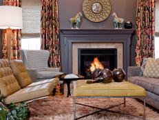 Eclectic Gray Living Room With Fireplace