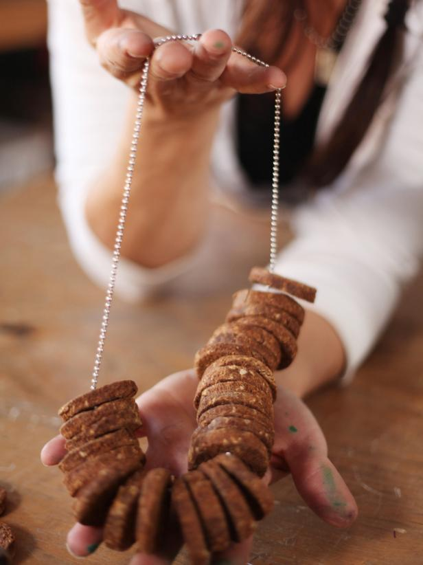 Package treats creatively by stringing them onto beaded chain dog-tag style.