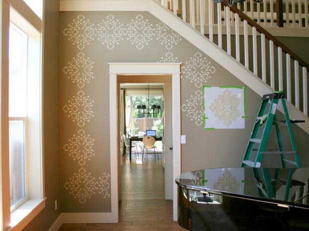 Repeating Diamond Stencil Pattern on Gray Wall