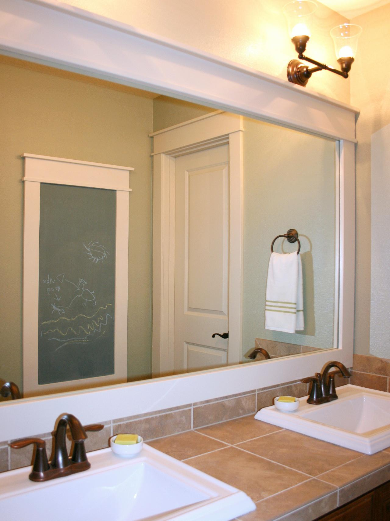 framing glue frame bathroom to lim framed wood makeover mirror mirrors