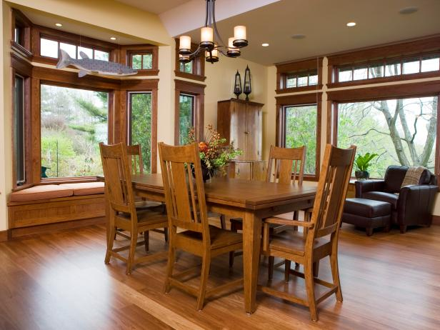 Craftsman Dining Room With Beautiful Custom Picture