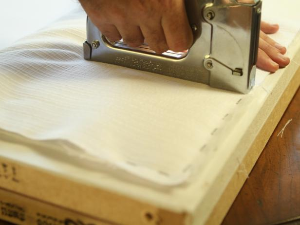 Staple Gun Staples White Fabric Over Batting