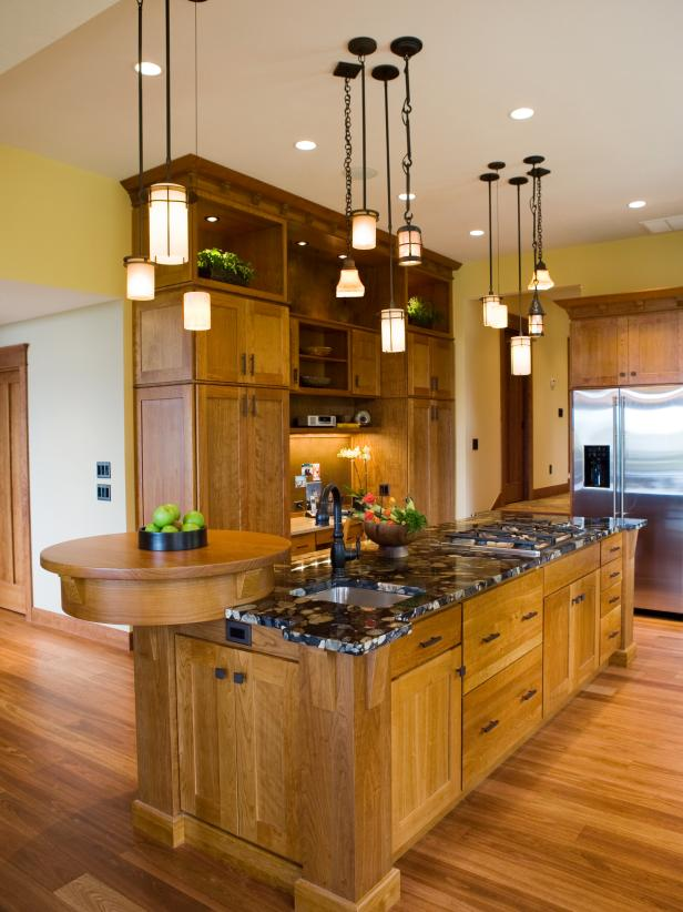 Gourmet Craftsman Kitchen With Multiple Pendant Lights Hgtv