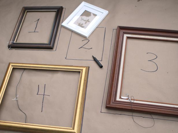 Trace each frame's dimensions onto paper using pencil or marker. Identify each frame by adding a piece of numbered painter's tape to the back.