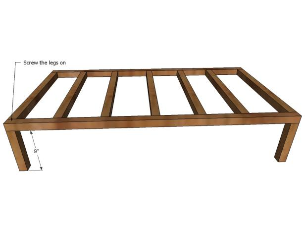 Attach the Front Legs to Toddler Daybed Frame