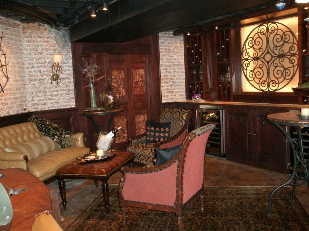 Wine Cellar with Old World Furnishings and Accessories.