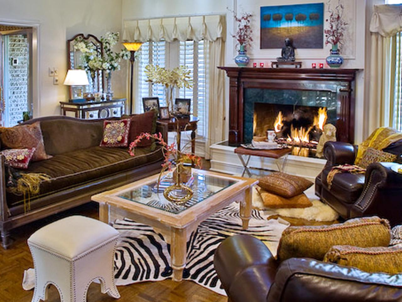 leopard print living room decor eclectic living room with zebra print rug hgtv 22364