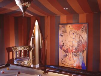 Moroccan-Style Billiards Room With Draped Ceiling