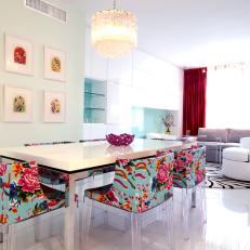 Contemporary Pastel Dining Room With Vibrant Floral Chairs