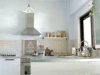 White Kitchen With Off-White Tile Backsplash