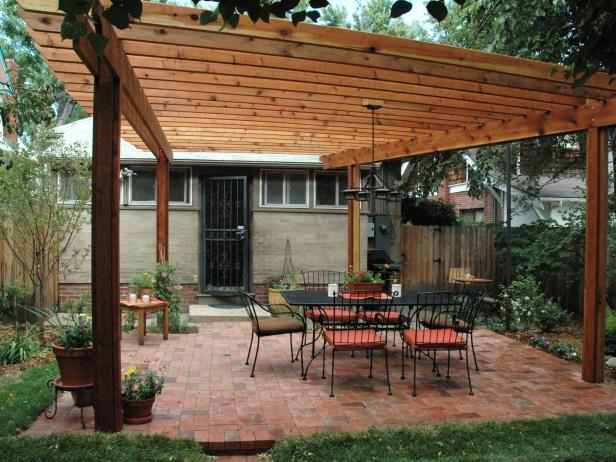 Backyard With Pergola how to build a wood pergola | hgtv