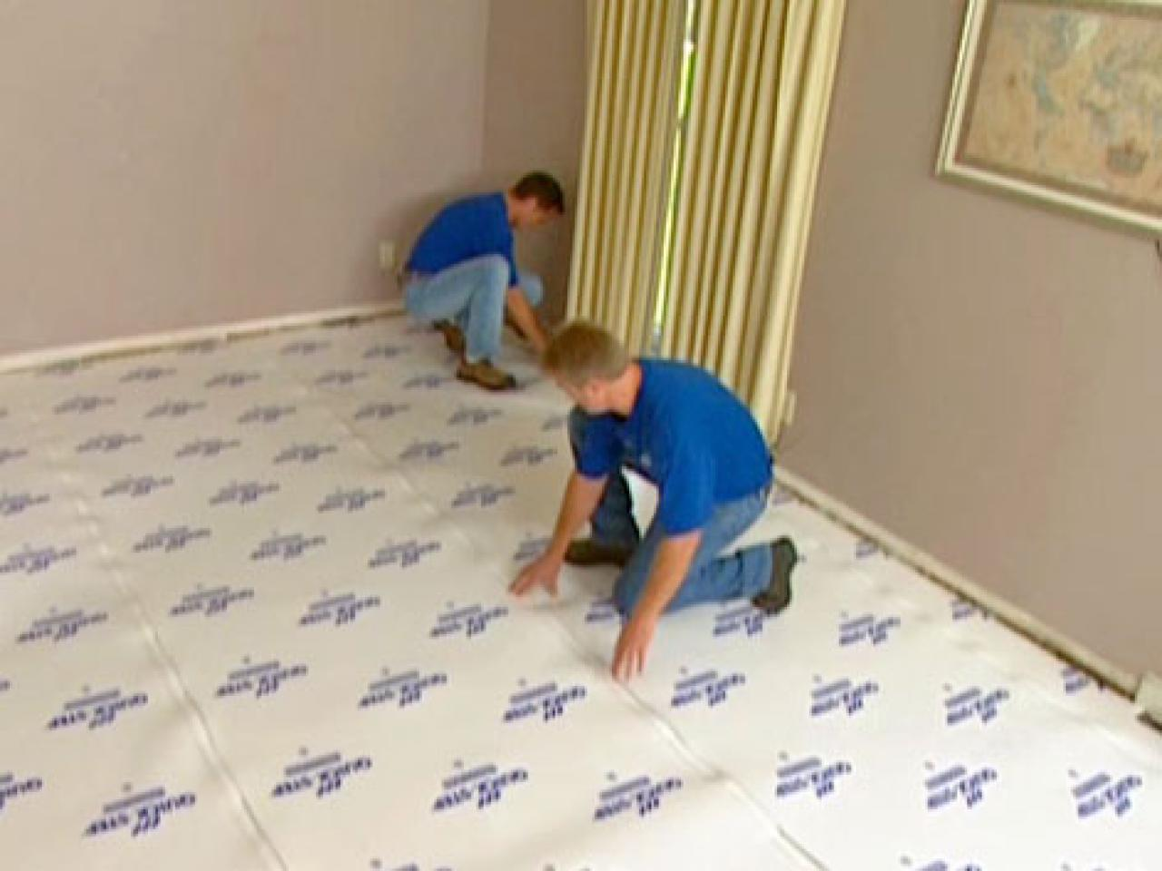 How To Install Underlayment And Laminate Flooring HGTV - What do i put under laminate flooring