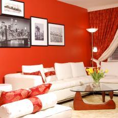 Red Transitional Living Room Photos | HGTV