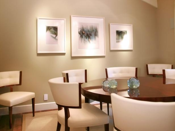 Beige Dining Room With White Chairs