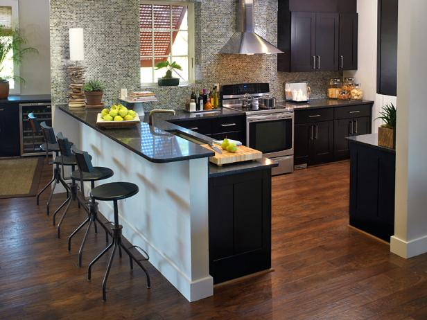 Gray Contemporary Kitchen With Hardwood Floors