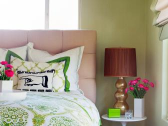 Mixed Patterns in Contemporary Green & White Bedroom