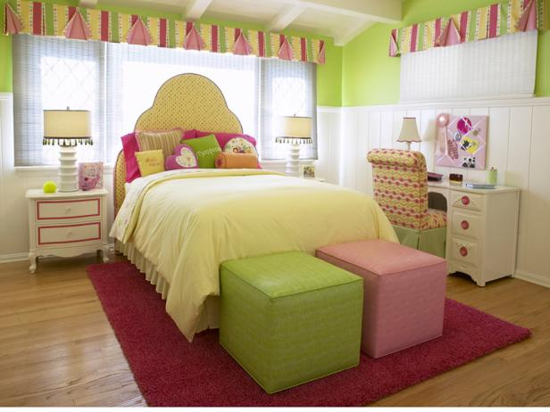 This contemporary room designed by Lauren Jacobsen is filled with different tones of pinks and greens that will easily transition from tween years to teen years.