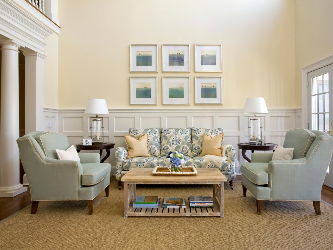 Traditional living room with pastel blue and yellow furnishings