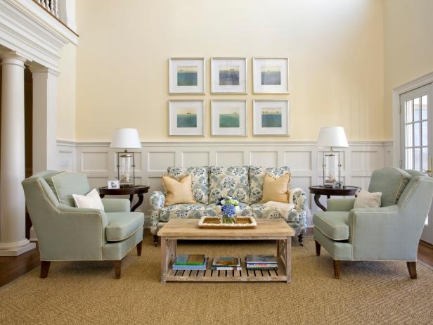Traditional Living Room With Pastel Blue And Yellow