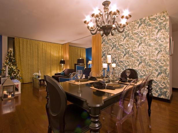 Dining Room With Floral Wallpaper and Chandelier