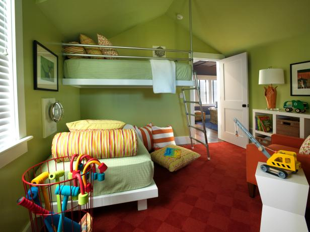 Green Contemporary Kids Bedroom with Metal Loft Bed