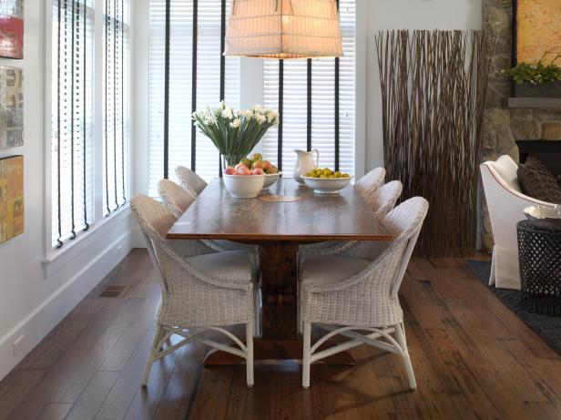Transitional Dining Room With Handcrafted Wood Table