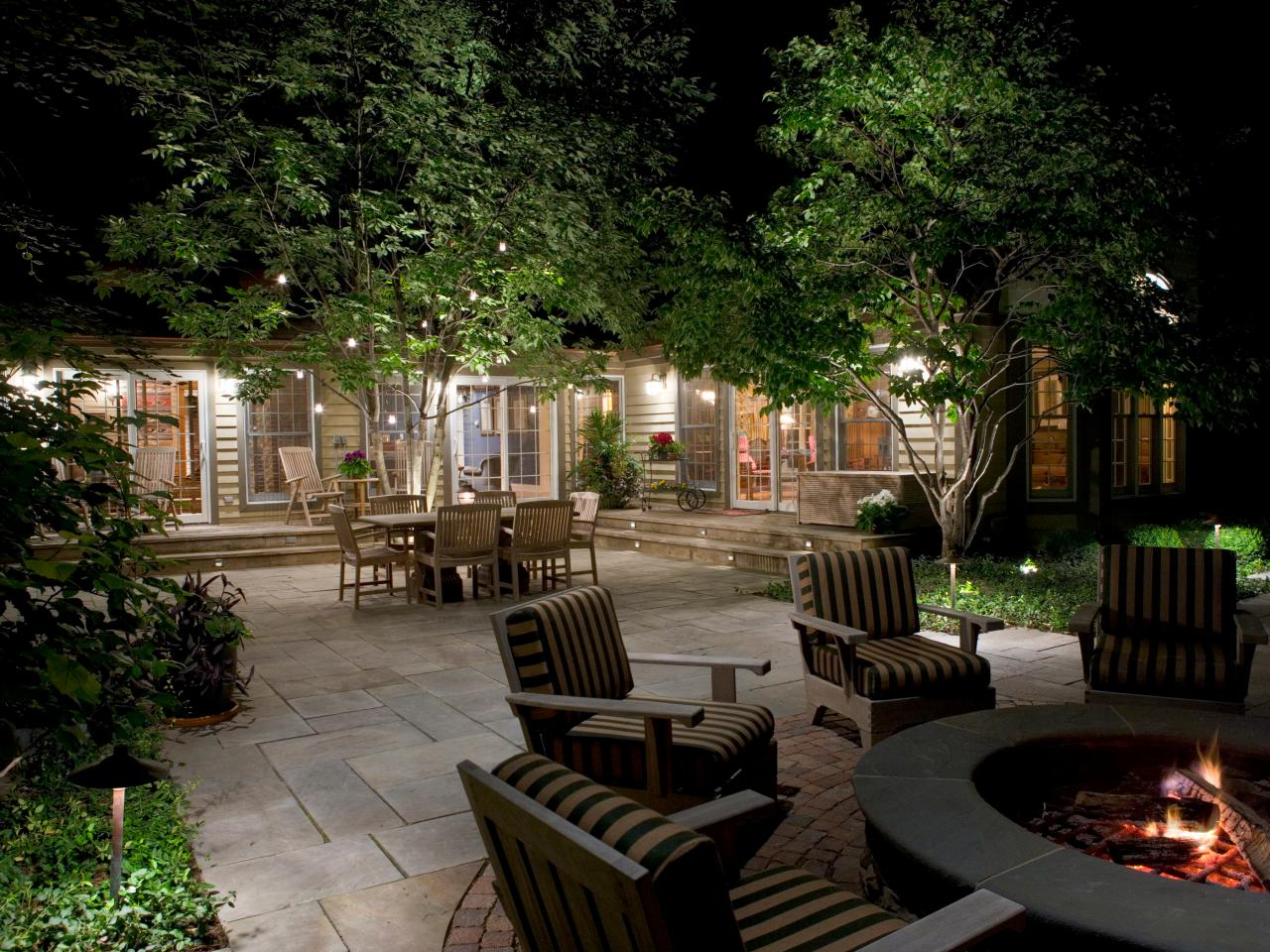 Yard With Landscape Lighting