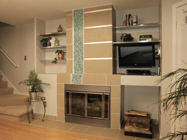 Neutral Tiled Fireplace