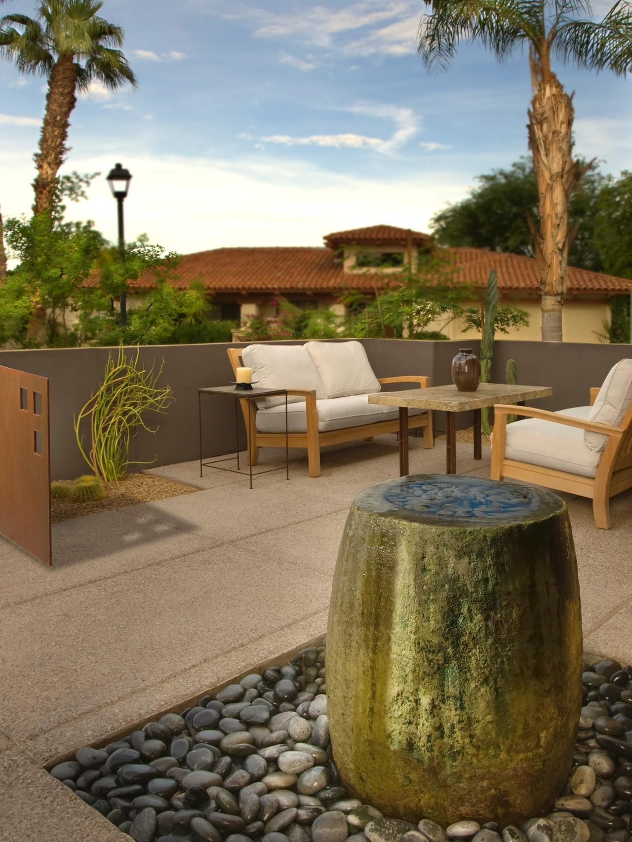 Modern Neutral Patio With Water Feature
