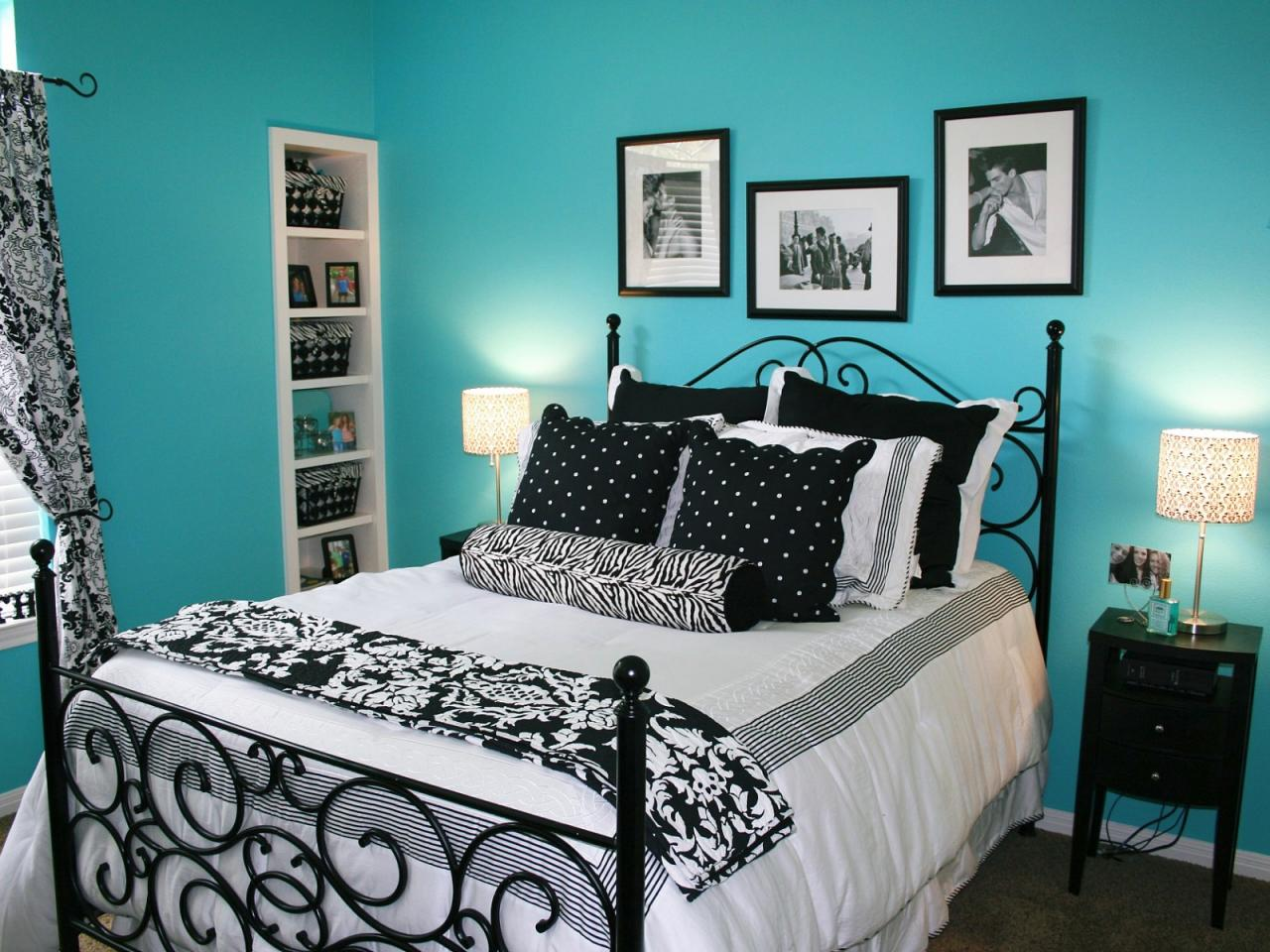 Black And White Bedroom With Blue Walls