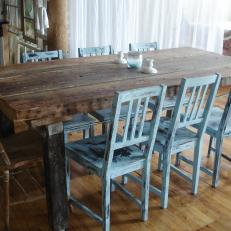 Dan Faires Rustic Dining Room With Distressed Blue Chairs