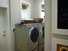 A hardworking laundry space, complete with Energy Star-rated appliances, serves as a family communication center.